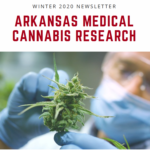 front cover of newsletter- scientist with cannabis plant